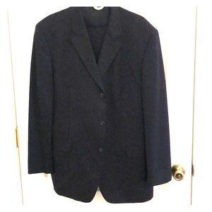 Men Navy Blue Pin Striped 3 piece Suit 46 R Wool
